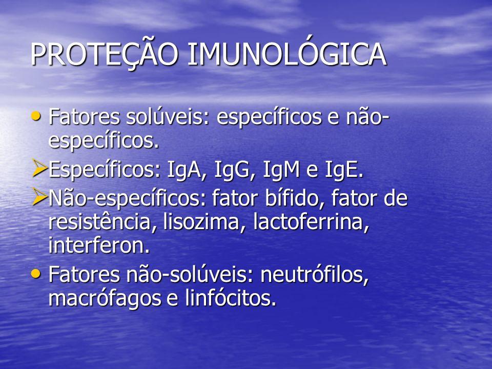 PROTEÇÃO IMUNOLÓGICA Fatores solúveis: específicos e não- específicos. Fatores solúveis: específicos e não- específicos. Específicos: IgA, IgG, IgM e