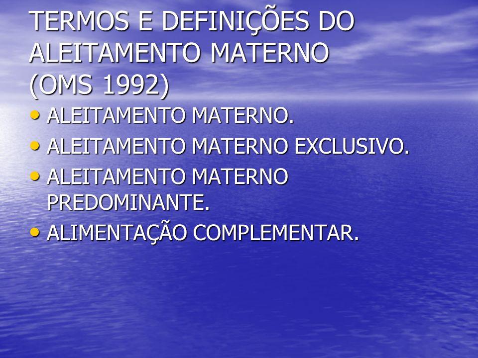 TERMOS E DEFINIÇÕES DO ALEITAMENTO MATERNO (OMS 1992) ALEITAMENTO MATERNO. ALEITAMENTO MATERNO. ALEITAMENTO MATERNO EXCLUSIVO. ALEITAMENTO MATERNO EXC