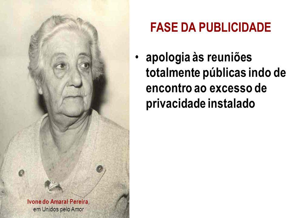 Ivone do Amaral Pereira, em Unidos pelo Amor FASE DA PUBLICIDADE apologia às reuniões totalmente públicas indo de encontro ao excesso de privacidade instalado