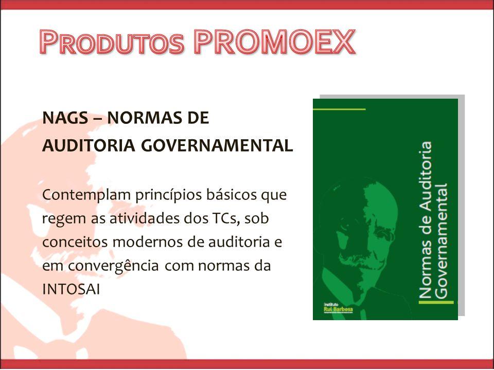 NAGS – NORMAS DE AUDITORIA GOVERNAMENTAL Contemplam princípios básicos que regem as atividades dos TCs, sob conceitos modernos de auditoria e em conve
