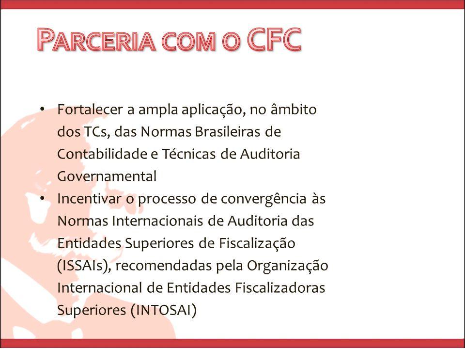 Fortalecer a ampla aplicação, no âmbito dos TCs, das Normas Brasileiras de Contabilidade e Técnicas de Auditoria Governamental Incentivar o processo d