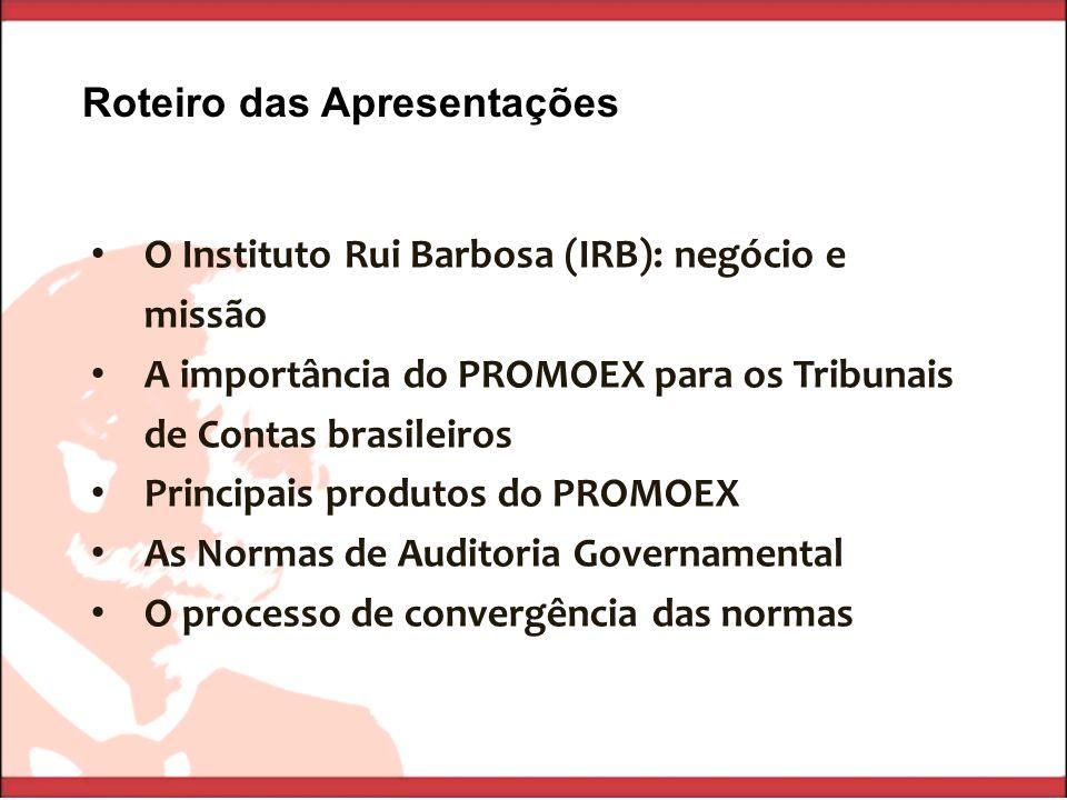 O Instituto Rui Barbosa (IRB): negócio e missão A importância do PROMOEX para os Tribunais de Contas brasileiros Principais produtos do PROMOEX As Nor