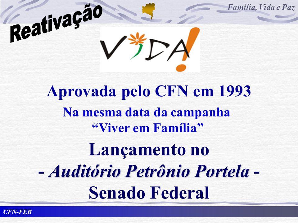 CFN-FEB Família, Vida e Paz Na mesma data da campanha Viver em Família Aprovada pelo CFN em 1993 Lançamento no Auditório Petrônio Portela - Senado Fed