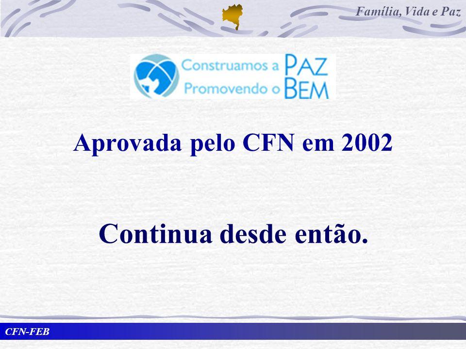 CFN-FEB Família, Vida e Paz Aprovada pelo CFN em 2002 Continua desde então.