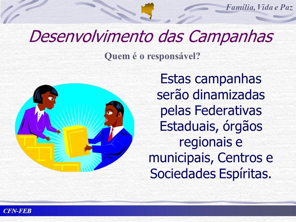 CFN-FEB Família, Vida e Paz Desenvolvimento das Campanhas Estas campanhas serão dinamizadas pelas Federativas Estaduais, órgãos regionais e municipais