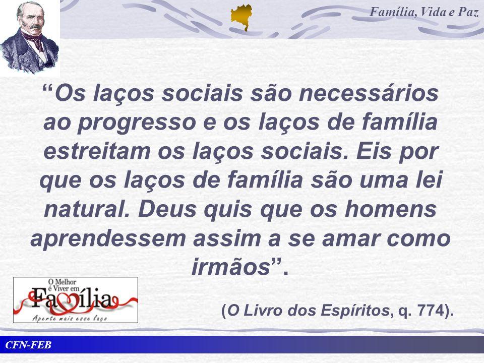 CFN-FEB Família, Vida e Paz Os laços sociais são necessários ao progresso e os laços de família estreitam os laços sociais. Eis por que os laços de fa