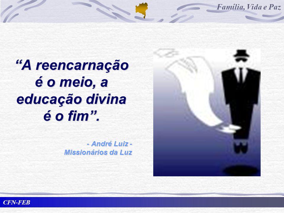 CFN-FEB Família, Vida e Paz A reencarnação é o meio, a educação divina é o fim. - André Luiz - Missionários da Luz
