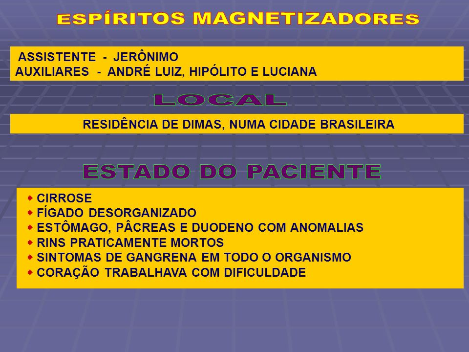 ASSISTENTE - JERÔNIMO AUXILIARES - ANDRÉ LUIZ, HIPÓLITO E LUCIANA RESIDÊNCIA DE DIMAS, NUMA CIDADE BRASILEIRA CIRROSE FÍGADO DESORGANIZADO ESTÔMAGO, P