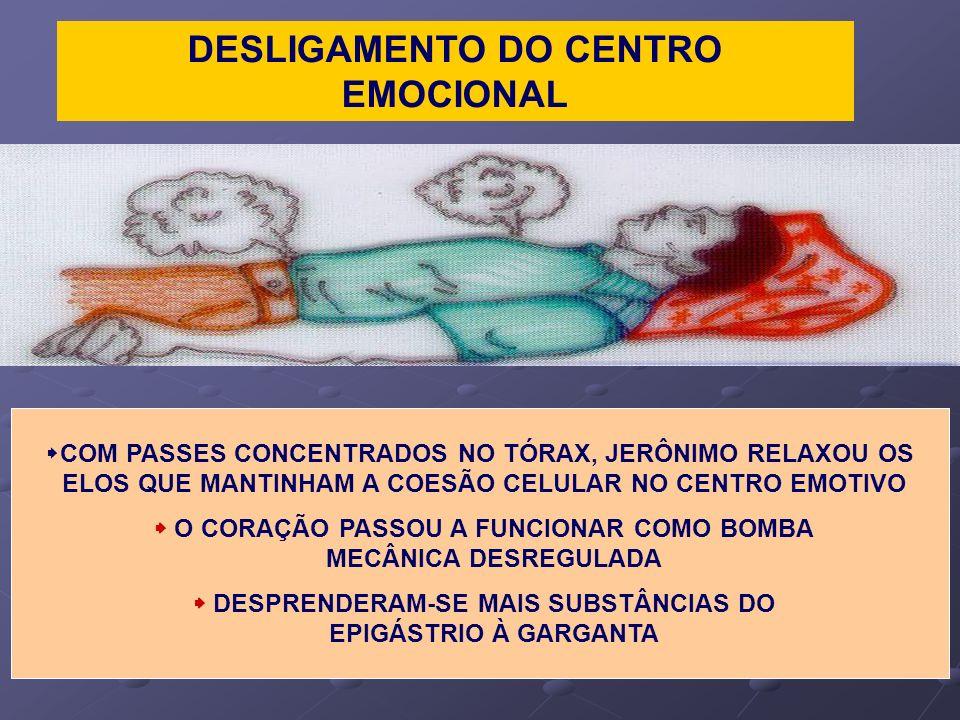 DESLIGAMENTO DO CENTRO EMOCIONAL COM PASSES CONCENTRADOS NO TÓRAX, JERÔNIMO RELAXOU OS ELOS QUE MANTINHAM A COESÃO CELULAR NO CENTRO EMOTIVO O CORAÇÃO