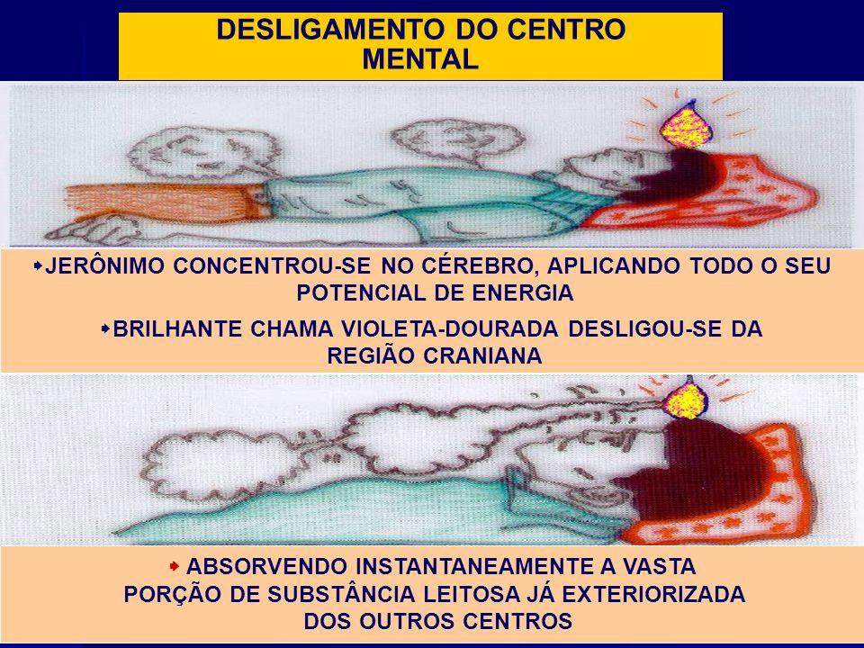 DESLIGAMENTO DO CENTRO MENTAL JERÔNIMO CONCENTROU-SE NO CÉREBRO, APLICANDO TODO O SEU POTENCIAL DE ENERGIA BRILHANTE CHAMA VIOLETA-DOURADA DESLIGOU-SE