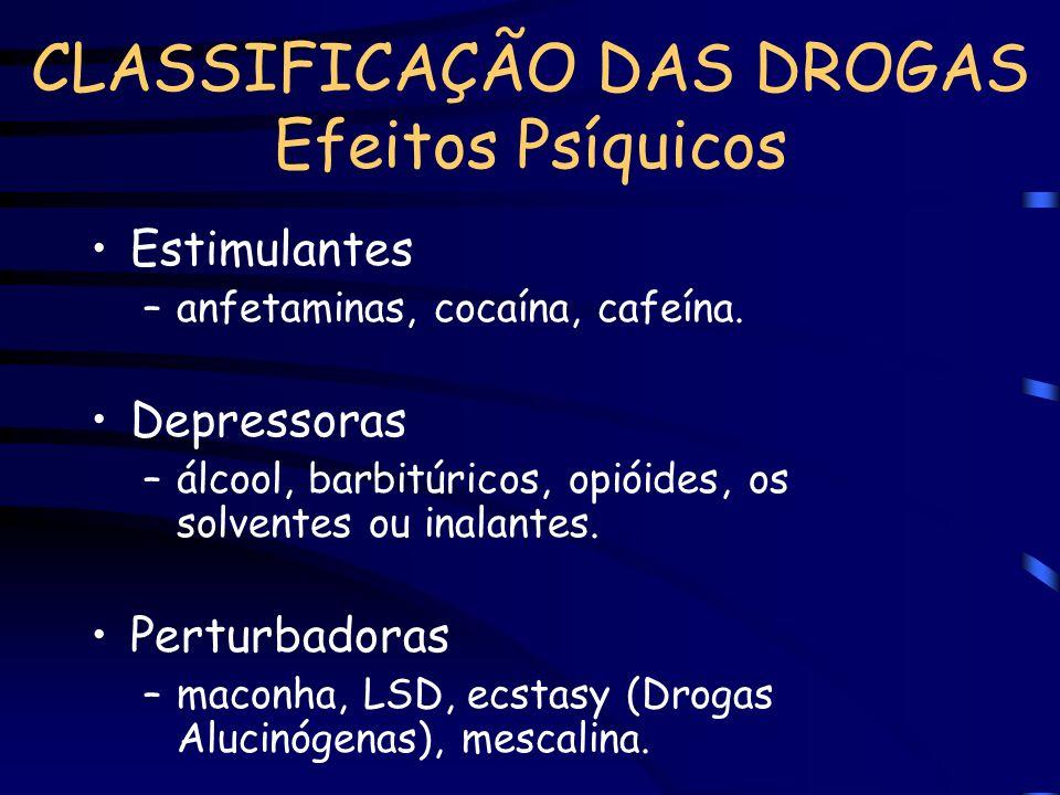 CLASSIFICAÇÃO DAS DROGAS Efeitos Psíquicos Estimulantes –anfetaminas, cocaína, cafeína. Depressoras –álcool, barbitúricos, opióides, os solventes ou i