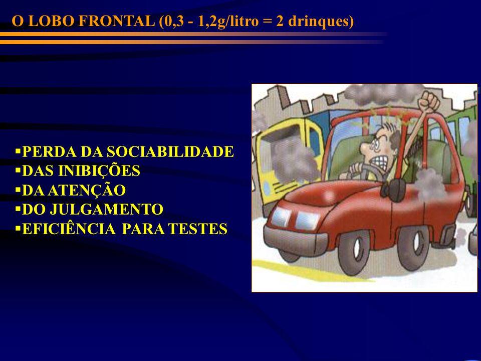 O LOBO FRONTAL (0,3 - 1,2g/litro = 2 drinques) PERDA DA SOCIABILIDADE DAS INIBIÇÕES DA ATENÇÃO DO JULGAMENTO EFICIÊNCIA PARA TESTES