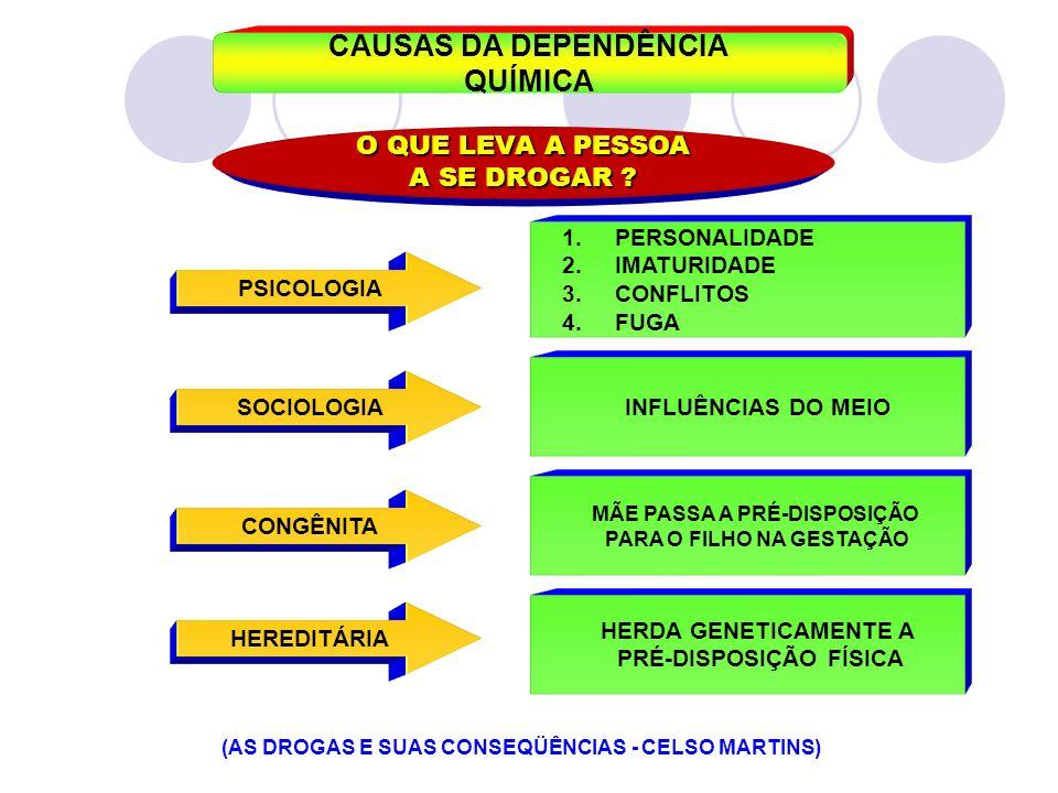 CAUSAS DA DEPENDÊNCIA QUÍMICA O QUE LEVA A PESSOA A SE DROGAR ? 1.PERSONALIDADE 2.IMATURIDADE 3.CONFLITOS 4.FUGA PSICOLOGIA INFLUÊNCIAS DO MEIO MÃE PA