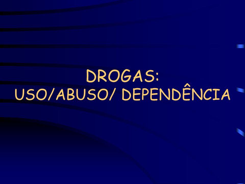 DROGAS: USO/ABUSO/ DEPENDÊNCIA