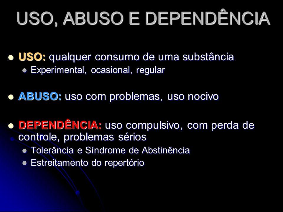 USO, ABUSO E DEPENDÊNCIA USO: USO: qualquer consumo de uma substância Experimental, Experimental, ocasional, regular ABUSO: ABUSO: uso com problemas,