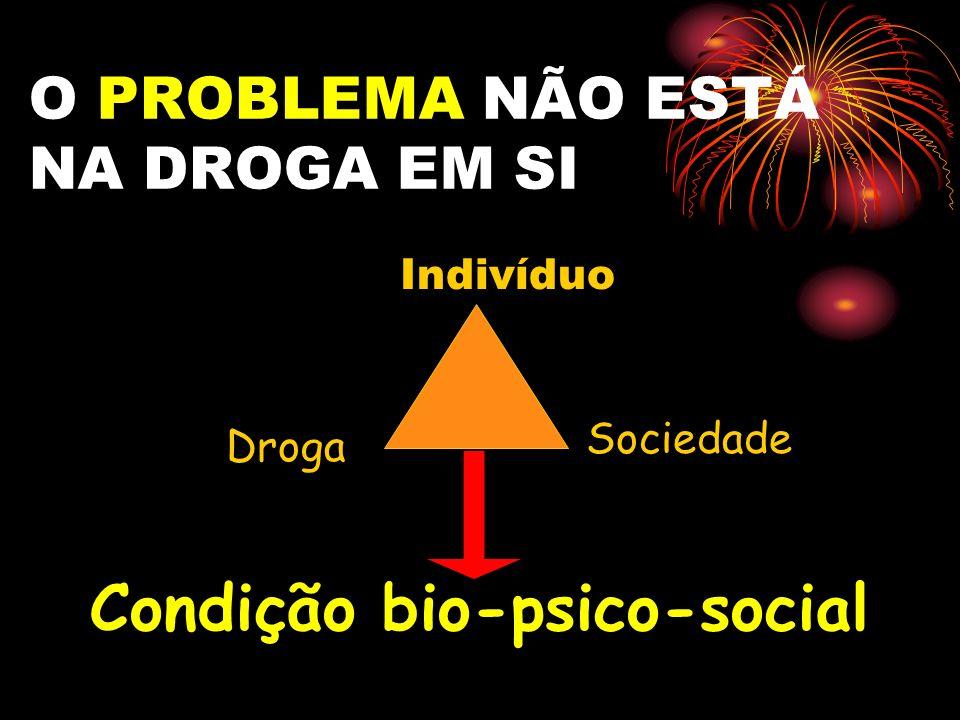 O PROBLEMA NÃO ESTÁ NA DROGA EM SI Droga Indivíduo Sociedade Condição bio-psico-social