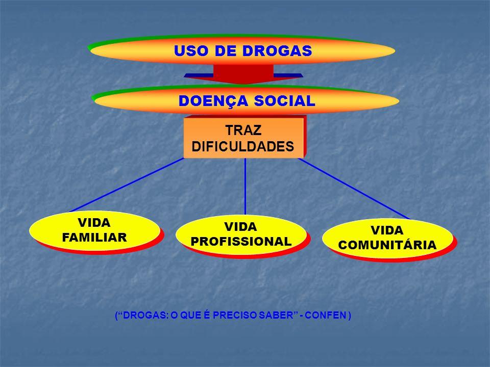 TRAZ DIFICULDADES USO DE DROGAS DOENÇA SOCIAL VIDA PROFISSIONAL VIDA PROFISSIONAL VIDA COMUNITÁRIA VIDA COMUNITÁRIA VIDA FAMILIAR VIDA FAMILIAR (DROGA