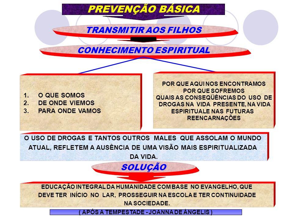 CONHECIMENTO ESPIRITUAL PREVENÇÃO BÁSICA TRANSMITIR AOS FILHOS POR QUE AQUI NOS ENCONTRAMOS POR QUE SOFREMOS QUAIS AS CONSEQÜÊNCIAS DO USO DE DROGAS N
