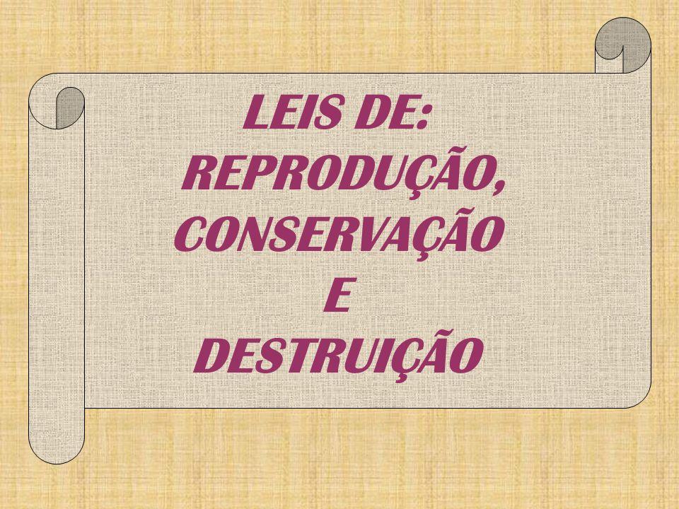 LEIS DE: REPRODUÇÃO, CONSERVAÇÃO E DESTRUIÇÃO