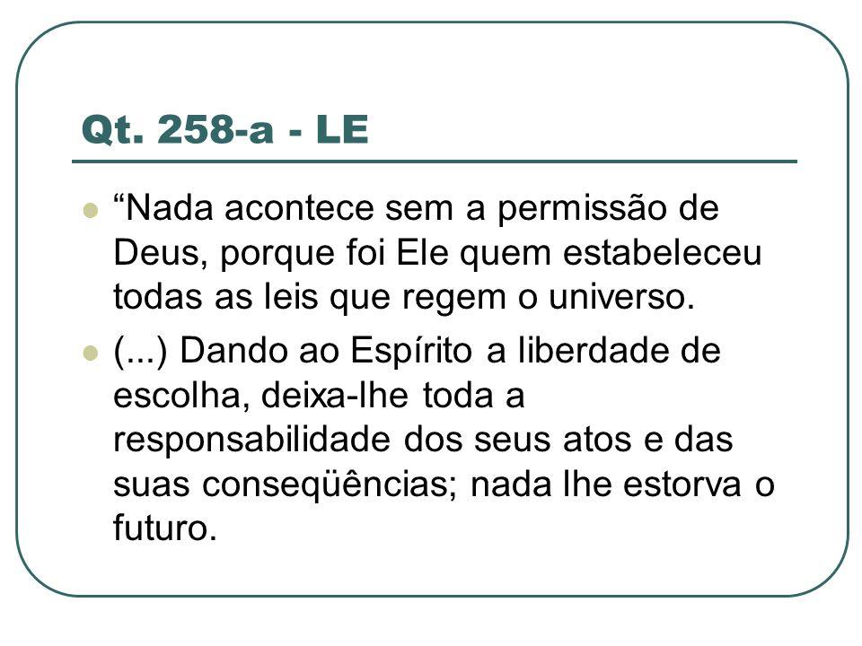 Qt. 258-a - LE Nada acontece sem a permissão de Deus, porque foi Ele quem estabeleceu todas as leis que regem o universo. (...) Dando ao Espírito a li