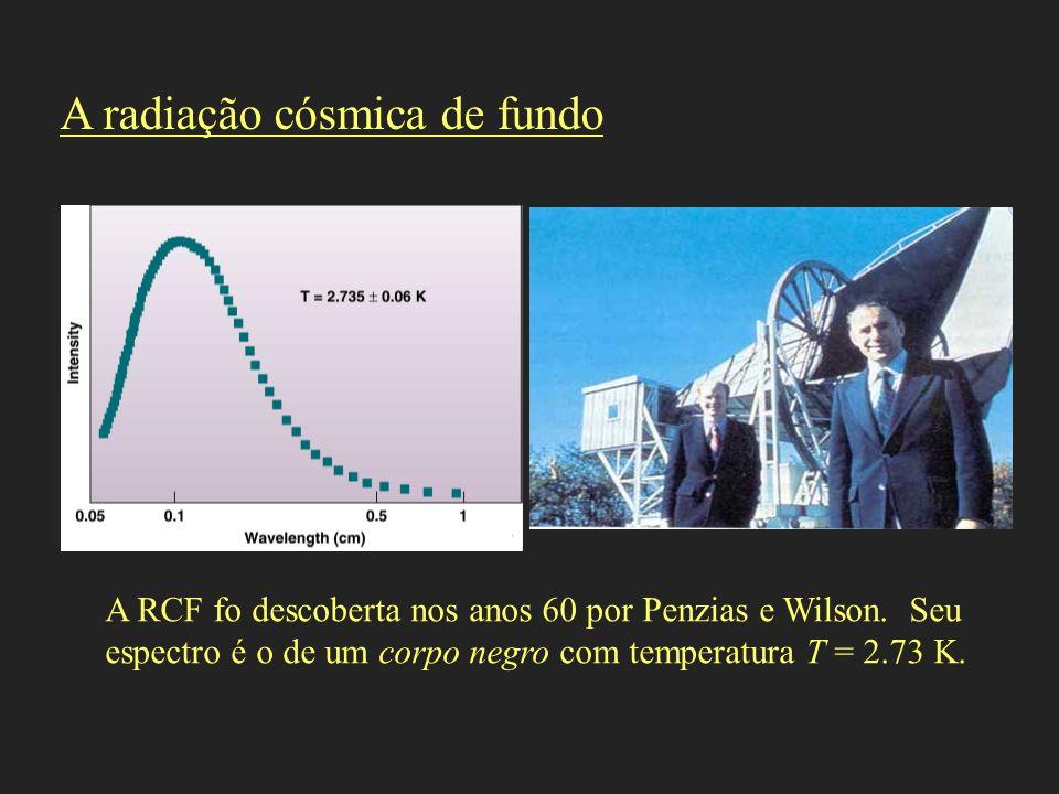 A RCF fo descoberta nos anos 60 por Penzias e Wilson. Seu espectro é o de um corpo negro com temperatura T = 2.73 K. A radiação cósmica de fundo