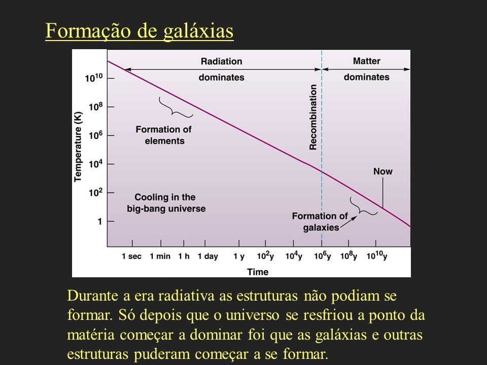 Durante a era radiativa as estruturas não podiam se formar. Só depois que o universo se resfriou a ponto da matéria começar a dominar foi que as galáx
