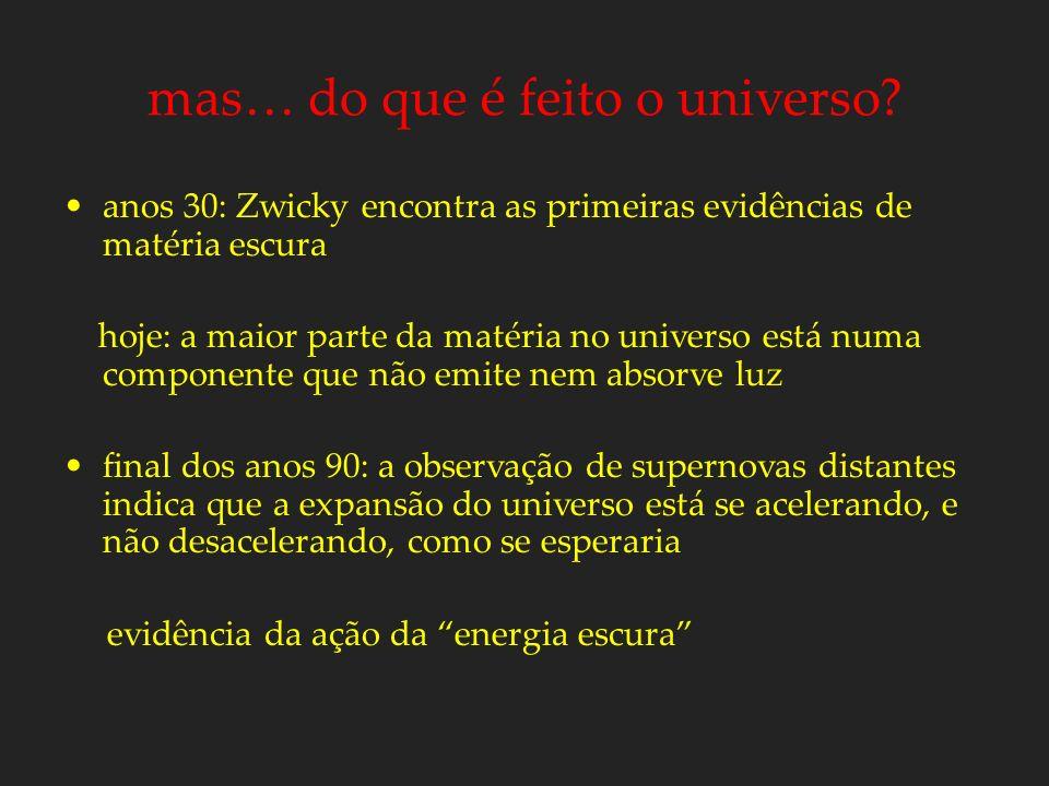 mas… do que é feito o universo? anos 30: Zwicky encontra as primeiras evidências de matéria escura hoje: a maior parte da matéria no universo está num