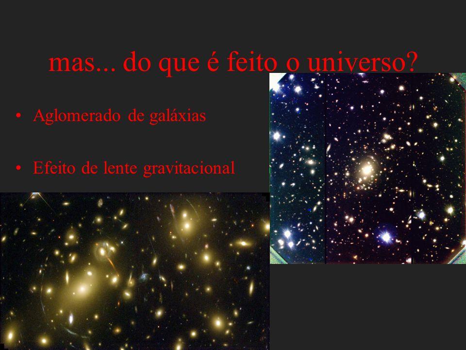 mas... do que é feito o universo? Aglomerado de galáxias Efeito de lente gravitacional