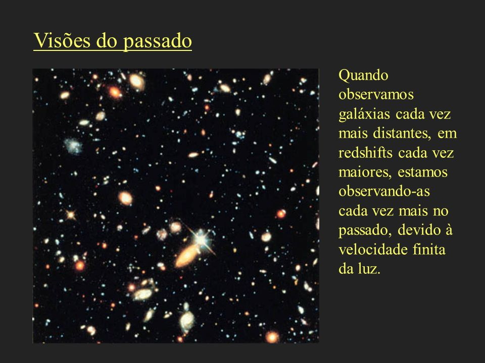 Visões do passado Quando observamos galáxias cada vez mais distantes, em redshifts cada vez maiores, estamos observando-as cada vez mais no passado, d