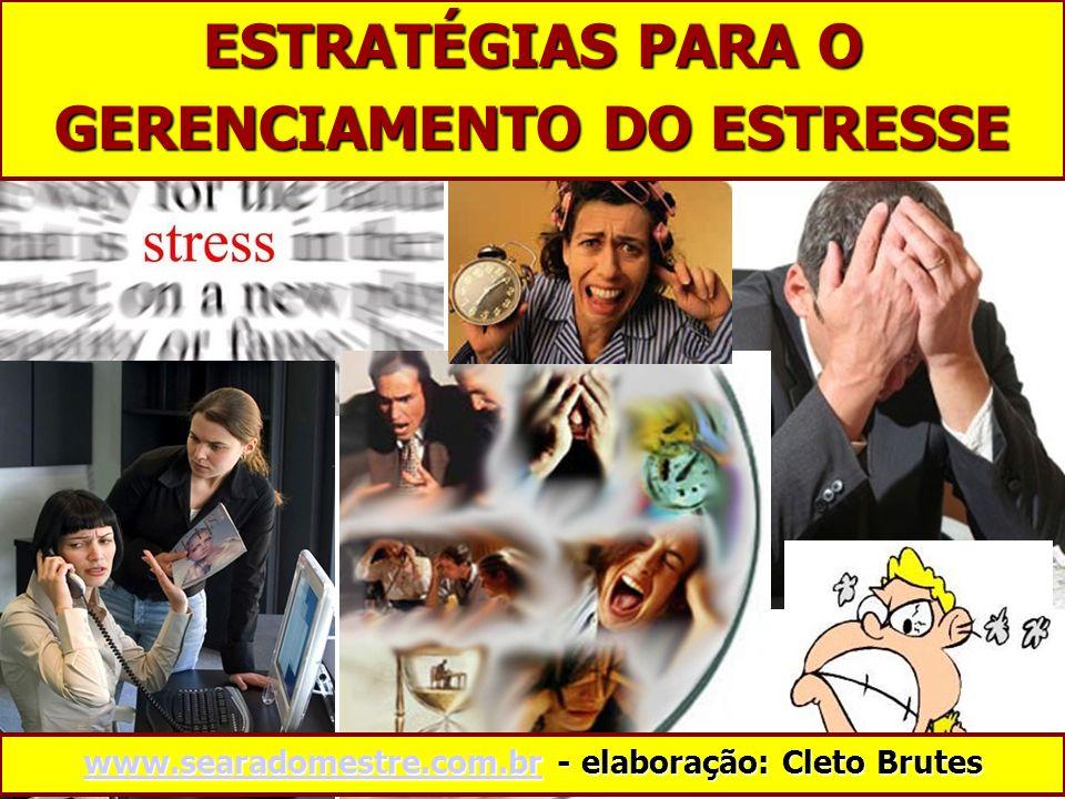 ESTRATÉGIAS PARA O GERENCIAMENTO DO ESTRESSE www.searadomestre.com.brwww.searadomestre.com.br - elaboração: Cleto Brutes www.searadomestre.com.br