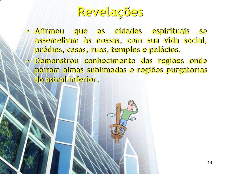14 Revelações Afirmou que as cidades espirituais se assemelham às nossas, com sua vida social, prédios, casas, ruas, templos e palácios. Demonstrou co