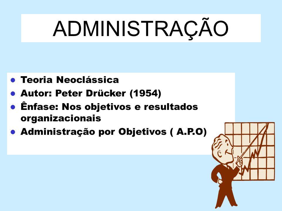 ADMINISTRAÇÃO Teoria Neoclássica Autor: Peter Drücker (1954) Ênfase: Nos objetivos e resultados organizacionais Administração por Objetivos ( A.P.O)