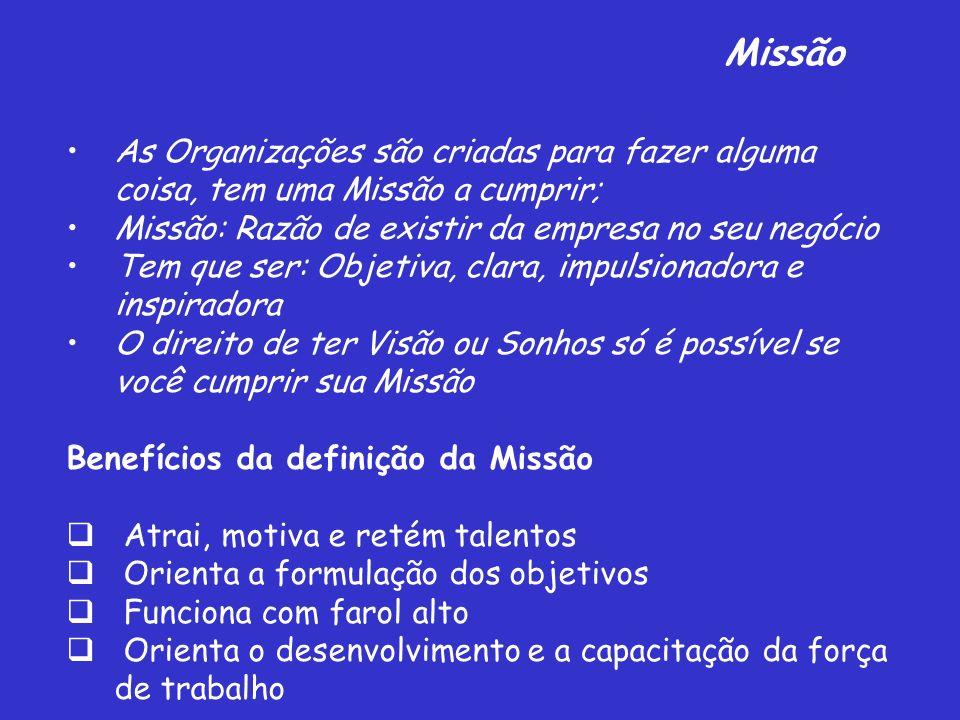 Missão As Organizações são criadas para fazer alguma coisa, tem uma Missão a cumprir; Missão: Razão de existir da empresa no seu negócio Tem que ser: