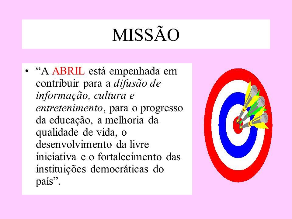 MISSÃO A ABRIL está empenhada em contribuir para a difusão de informação, cultura e entretenimento, para o progresso da educação, a melhoria da qualid