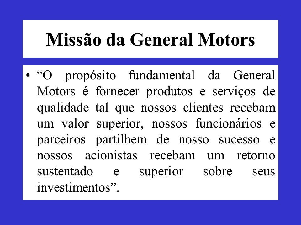Missão da General Motors O propósito fundamental da General Motors é fornecer produtos e serviços de qualidade tal que nossos clientes recebam um valo