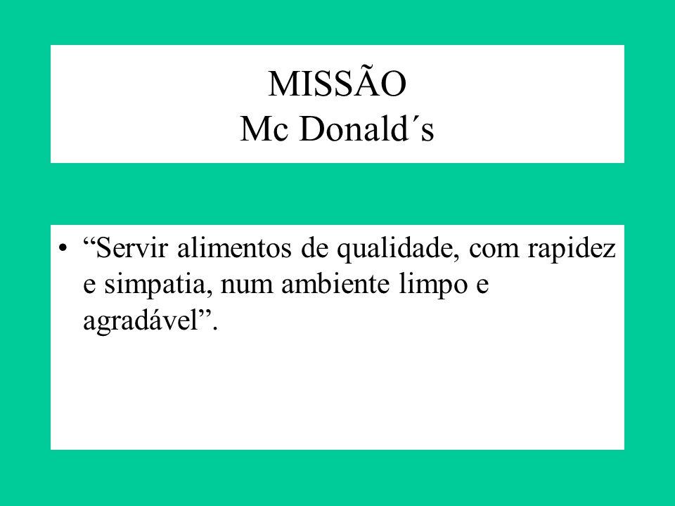 MISSÃO Mc Donald´s Servir alimentos de qualidade, com rapidez e simpatia, num ambiente limpo e agradável.