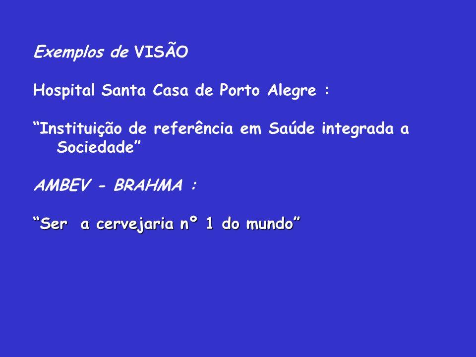 Exemplos de VISÃO Hospital Santa Casa de Porto Alegre : Instituição de referência em Saúde integrada a Sociedade AMBEV - BRAHMA : Ser a cervejaria nº