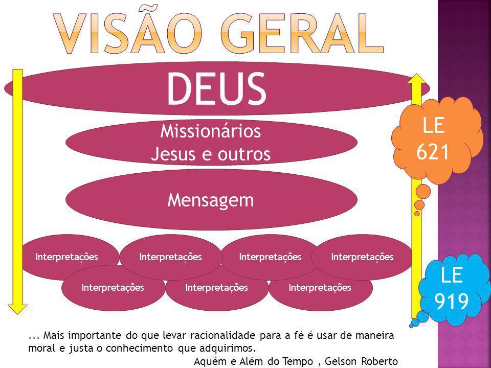 DEUS Missionários Jesus e outros Mensagem Interpretações LE 621 LE 919... Mais importante do que levar racionalidade para a fé é usar de maneira moral
