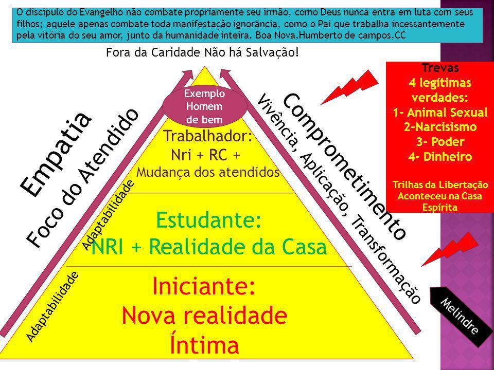 Iniciante: Nova realidade Íntima Estudante: NRI + Realidade da Casa Trabalhador: Nri + RC + Mudança dos atendidos Foco do Atendido Vivência, Aplicação