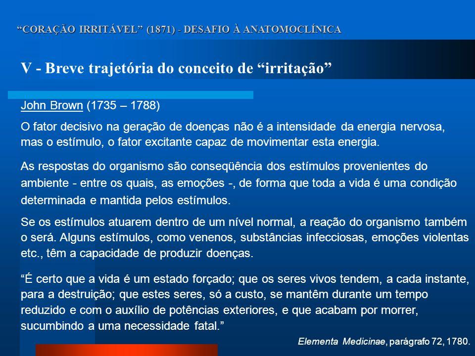CORAÇÃO IRRITÁVEL (1871) - DESAFIO À ANATOMOCLÍNICA V - Breve trajetória do conceito de irritação John Brown (1735 – 1788) O fator decisivo na geração