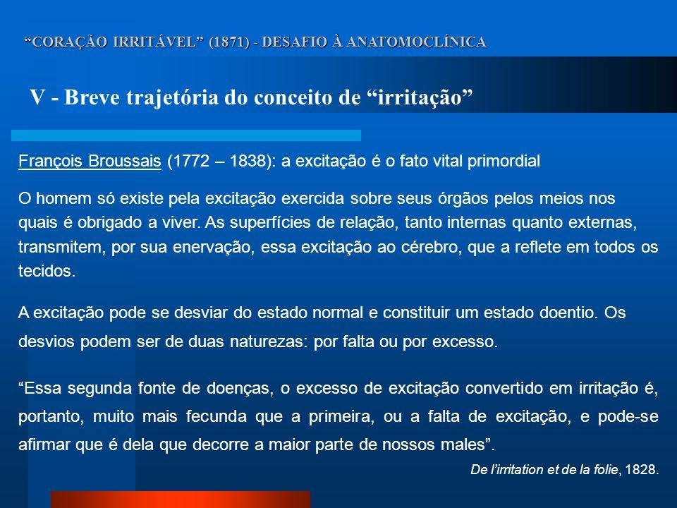 CORAÇÃO IRRITÁVEL (1871) - DESAFIO À ANATOMOCLÍNICA V - Breve trajetória do conceito de irritação François Broussais (1772 – 1838): a excitação é o fa
