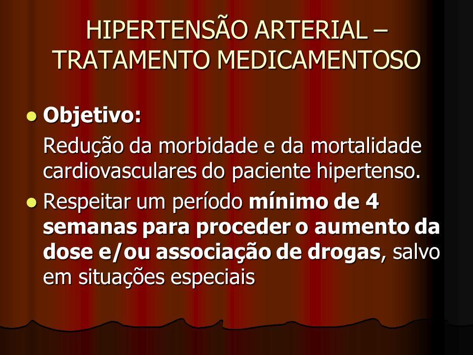 HIPERTENSÃO ARTERIAL – TRATAMENTO MEDICAMENTOSO Objetivo: Objetivo: Redução da morbidade e da mortalidade cardiovasculares do paciente hipertenso.