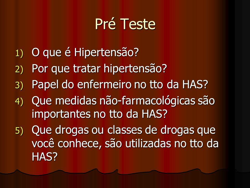Pré Teste 1) O que é Hipertensão.2) Por que tratar hipertensão.