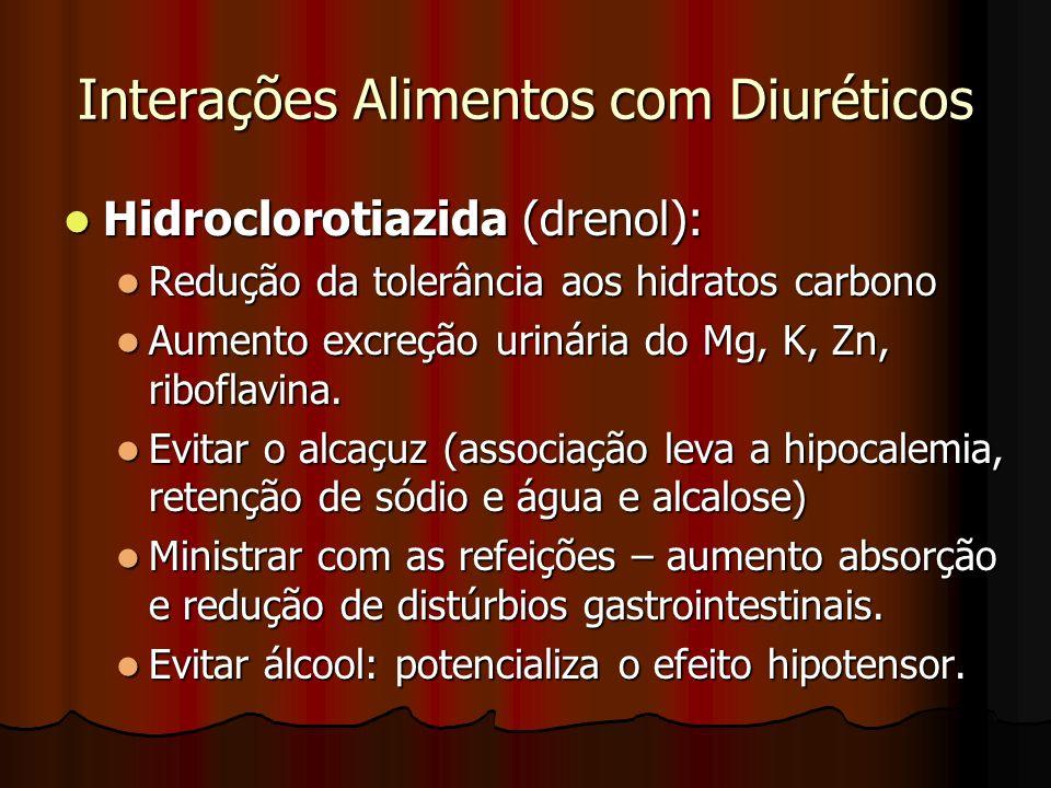 Interações Alimentos com Diuréticos Hidroclorotiazida (drenol): Hidroclorotiazida (drenol): Redução da tolerância aos hidratos carbono Redução da tolerância aos hidratos carbono Aumento excreção urinária do Mg, K, Zn, riboflavina.