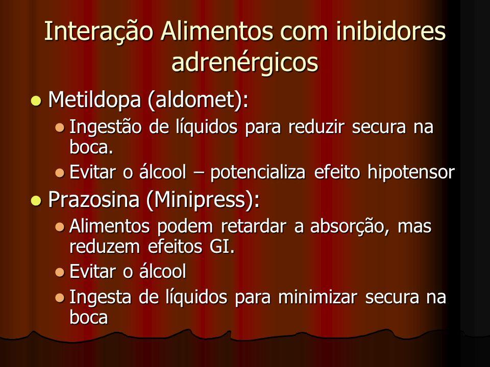 Interação Alimentos com inibidores adrenérgicos Metildopa (aldomet): Metildopa (aldomet): Ingestão de líquidos para reduzir secura na boca.