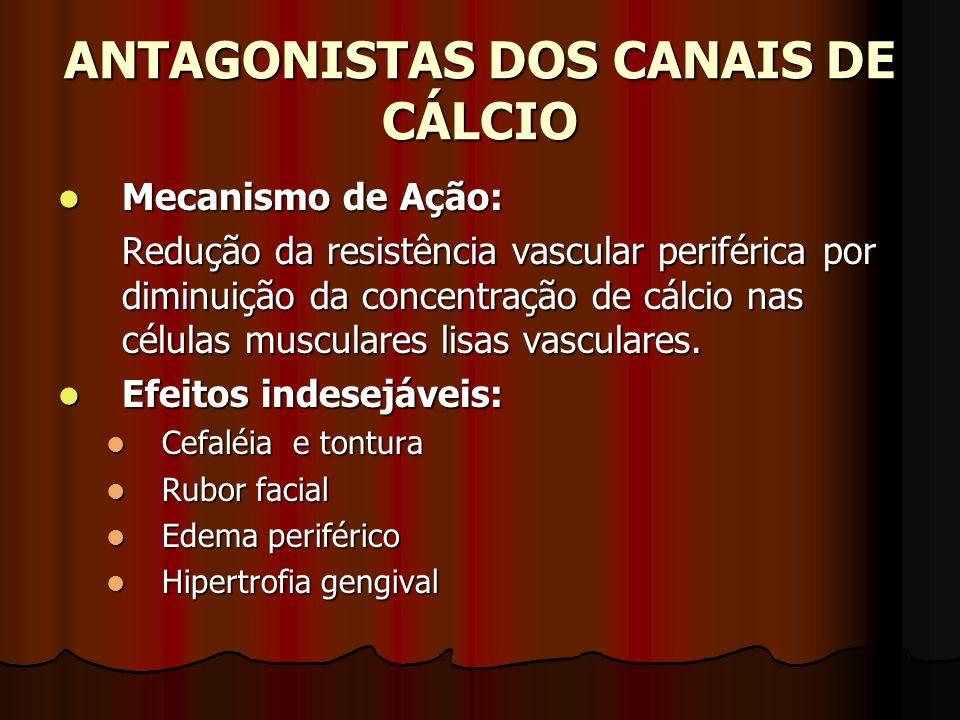 ANTAGONISTAS DOS CANAIS DE CÁLCIO Mecanismo de Ação: Mecanismo de Ação: Redução da resistência vascular periférica por diminuição da concentração de cálcio nas células musculares lisas vasculares.