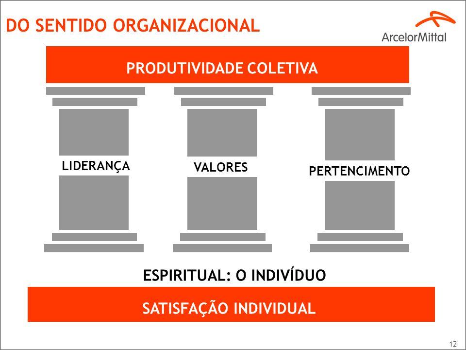 12 DO SENTIDO ORGANIZACIONAL LIDERANÇA VALORES PERTENCIMENTO ESPIRITUAL: O INDIVÍDUO SATISFAÇÃO INDIVIDUAL PRODUTIVIDADE COLETIVA