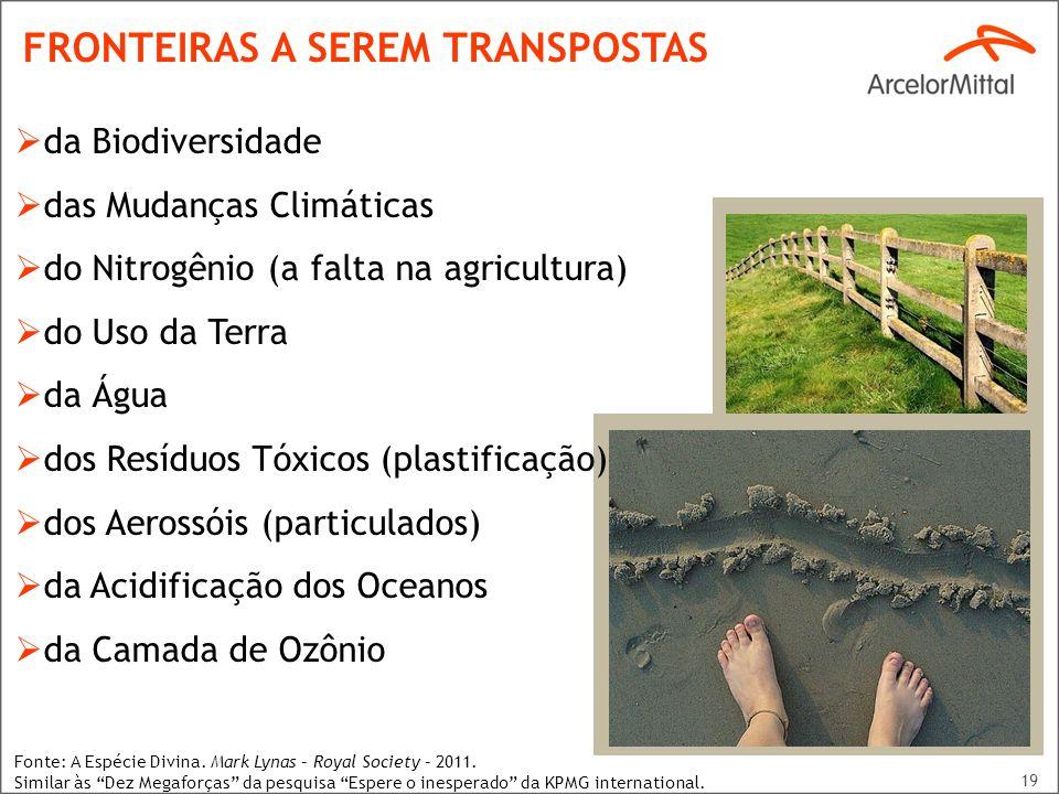 19 da Biodiversidade das Mudanças Climáticas do Nitrogênio (a falta na agricultura) do Uso da Terra da Água dos Resíduos Tóxicos (plastificação) dos A