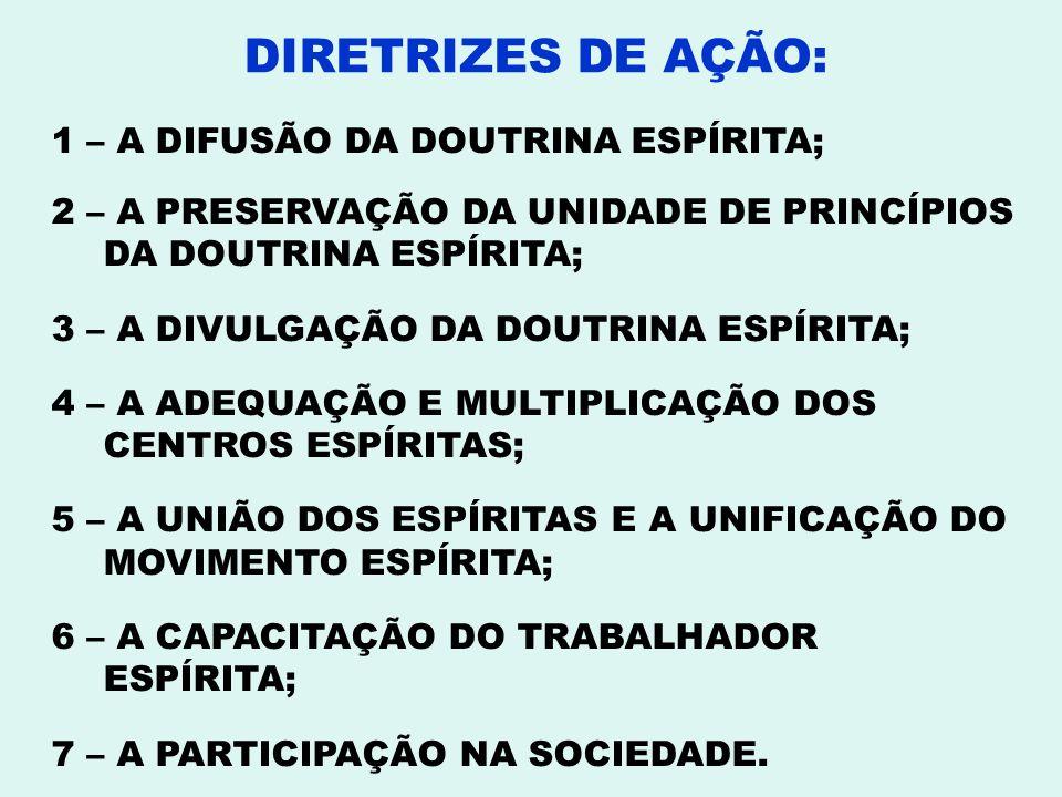 1 – A DIFUSÃO DA DOUTRINA ESPÍRITA; 2 – A PRESERVAÇÃO DA UNIDADE DE PRINCÍPIOS DA DOUTRINA ESPÍRITA; 3 – A DIVULGAÇÃO DA DOUTRINA ESPÍRITA; 4 – A ADEQ