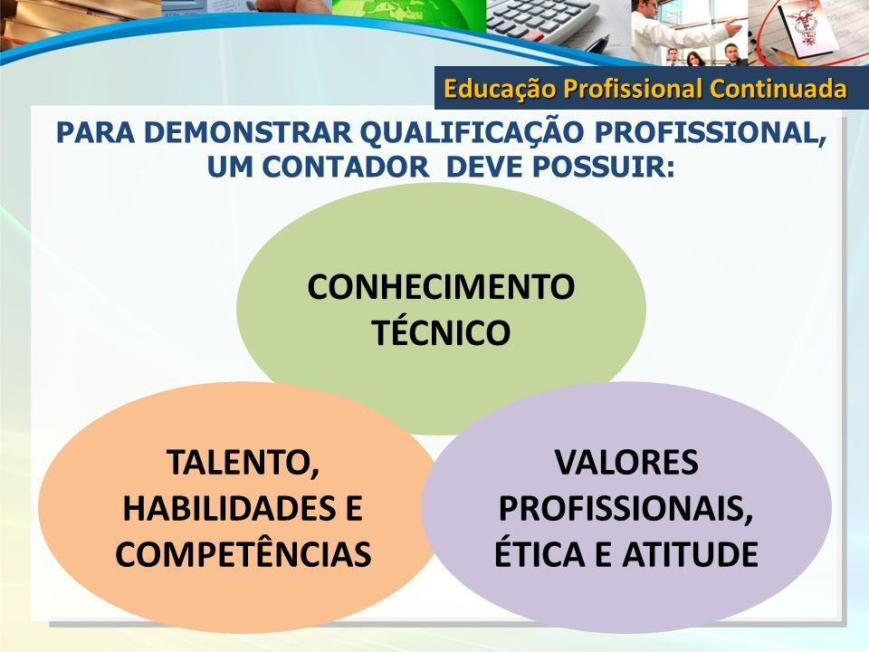 PARA DEMONSTRAR QUALIFICAÇÃO PROFISSIONAL, UM CONTADOR DEVE POSSUIR: Educação Profissional Continuada CONHECIMENTO TÉCNICO TALENTO, HABILIDADES E COMP